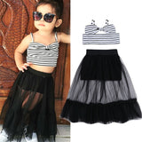 2019 Fashion Toddler Kid Baby Girls Dress Tulle SSummer Sleeveless Crop Tops Skirt Tutu Dresses Children Baby Girl Clothes Sets