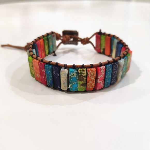 Multi Color Chakra Bracelet Jewelry Tube Beads Leather Wrap Bracelet