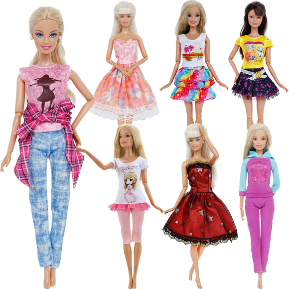 Handmade Fashion Outfit Short Dress T-shirt Trousers For Barbie Doll Toy