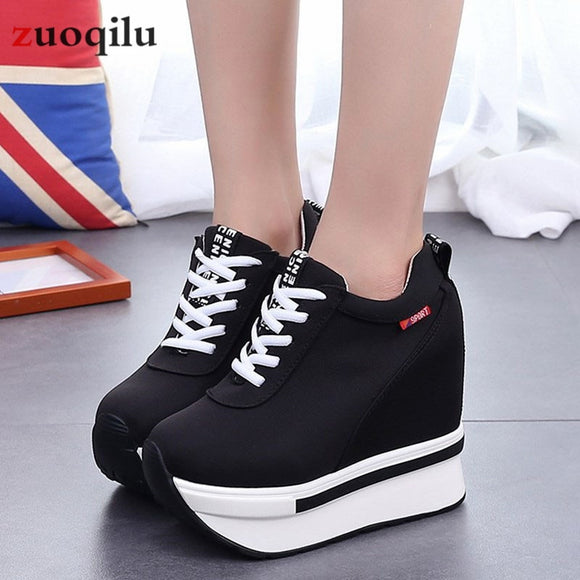 Women Shoes 2019 Height Increasing Canvas Wedges Platform Heels Shoes Sneakers
