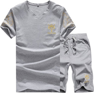Summer Men's Thin Cotton Fashion Casual Sports Set, Loose Large Size