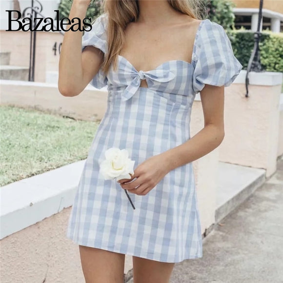 Bazaleas 2019 Vintage Tartan Blue Puff Sleeve Slim Dresses Fashion Center Hollow Out Bow Women Dress mini vestidos Casual