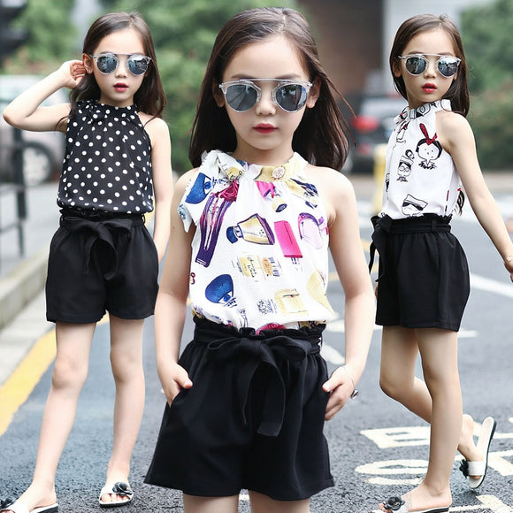 2019 New Kids Girls Chiffon Clothing Set Chiffon sling Girl Clothes Summer Casual Blouse Top & Shorts Set for 6 8 10 12 14years