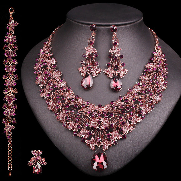 Necklace Earrings Set Retro Bridal Jewelry Sets Women's