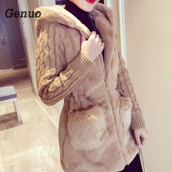 Fashion Long Cardigan Coat Female Autumn Thick Warm Winter Jacket for Women Fur Women's Jacket Knitted Lady's Sweater