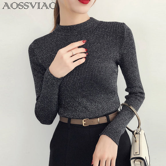 Shiny Lurex Autumn Winter Sweater Women Long Sleeve Pullover