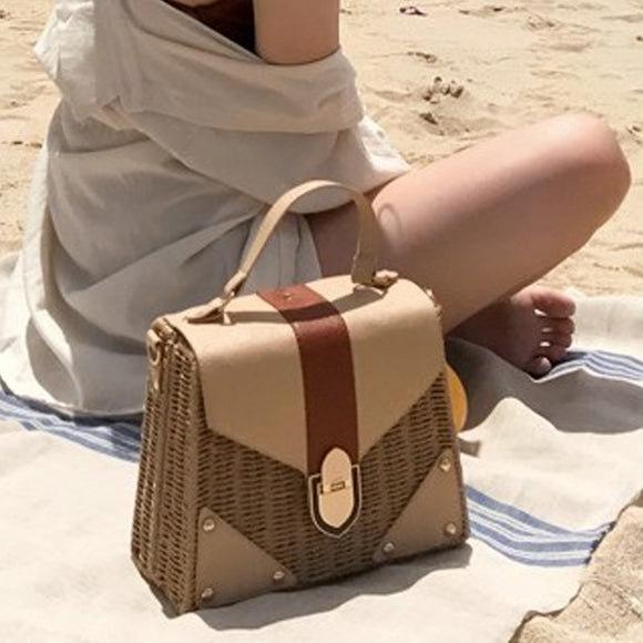 New 2019 Bohemian Straw Bags for Women Beach Handbags Summer Vintage Rattan Bag Handmade Kintted Crossbody Bag