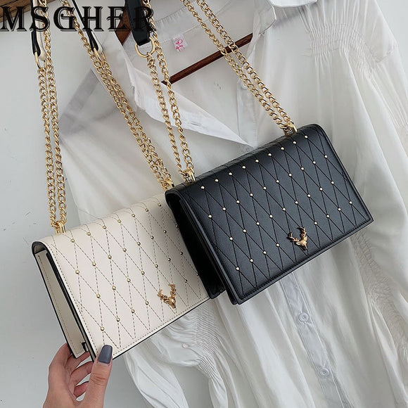MSGHER Mini Shoulder Bags Women Plaid Chain Small Square Bags Female Fashion Diamonds Crossbody Bags with PU Synthetic Leather
