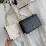MSGHER Mini Shoulder Bags Women Plaid Chain Small Square