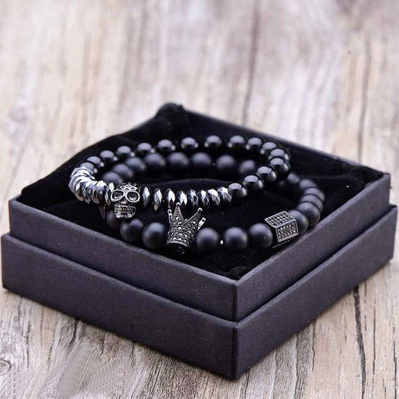 Matte Oxyn Stone Beads Skull Bracelet Set Crown Men Accessories Erkek Bileklik Jewelry Mens Bracelets For Men & Women Pulseras Mujer