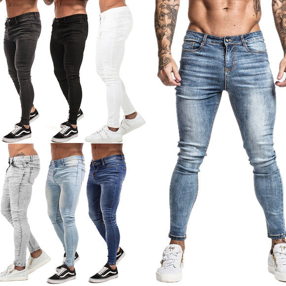 Mens Super Skinny Jeans Non Ripped Stretch Pants Elastic Waist