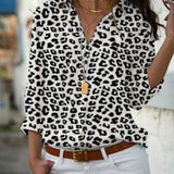 Women Tops Elegant Long Sleeve Print V-Neck Chiffon Shirts Plus Size