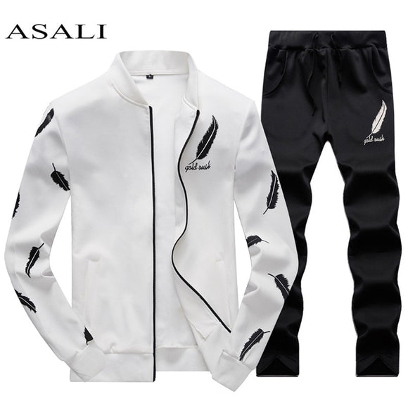 ASALI Mens Tracksuit 2019 Spring 3D Print Pleated Hoodies Pant Suit