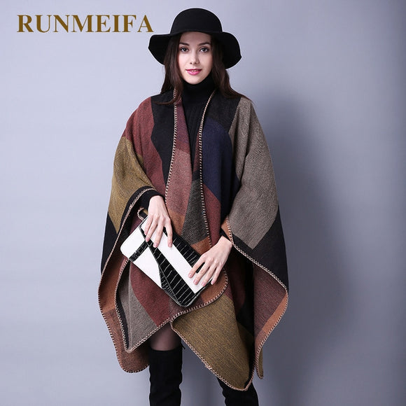 2019 New Fashion Winter Warm Plaid Ponchos And Capes For Women