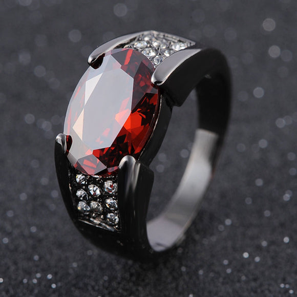 Hip-hop Black Gold Ruby Ring Party Wedding Sapphire Bizuteria Unisex