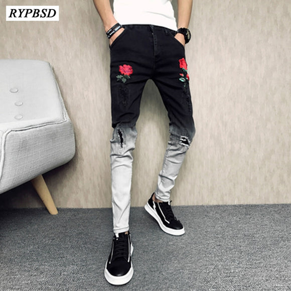 Men High Quality Fashion Casual Ripped Denim Men Pants Jeans