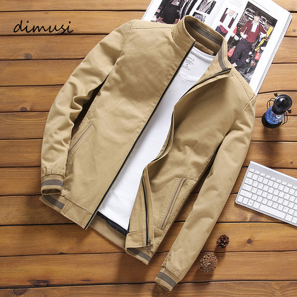 DIMUSI Spring Autumn Men's Bomber Jackets Casual Male Outwear Windbreaker Stand Collar Jacket Mens Baseball Slim Coats 5XL
