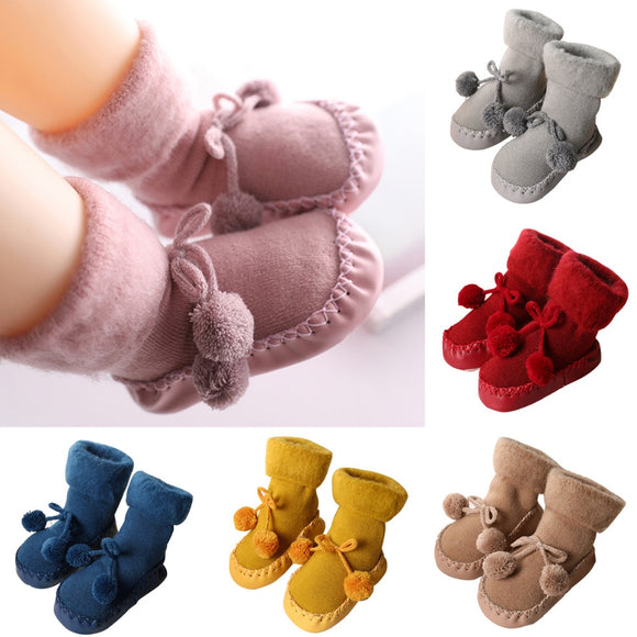 Newborn Baby Cotton High Quality Anti-Slip Socks Kids Winter Slipper Shoes Boots for 0-24 Months