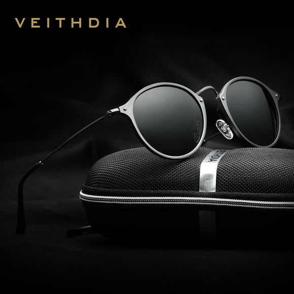 VEITHDIA Brand Fashion Unisex Sun Glasses Polarized Coating Mirror Driving Sunglasses Round Male Eye wear For Men/Women