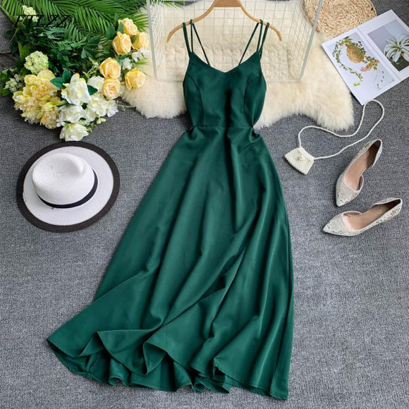 Fitaylor Sexy Spaghetti Strap Long Dress Women Elegant Backless Dresse