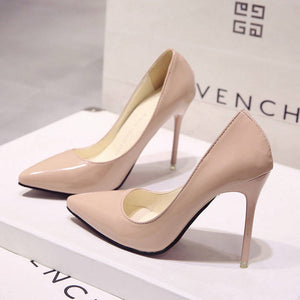 Women Shoes Pointed Toe Pumps Patent Leather Dress High Heels