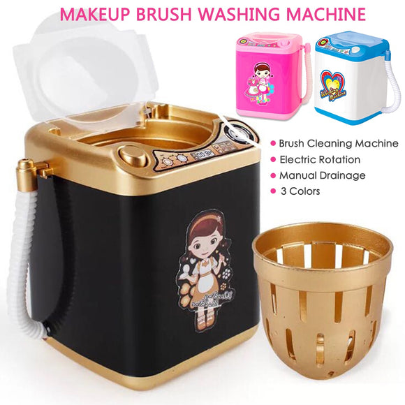 Multifunction Mini Makeup Brush Powder Puff Washing Machine Simulation Toys Pretend Kid Play Electric Cleaner Tool