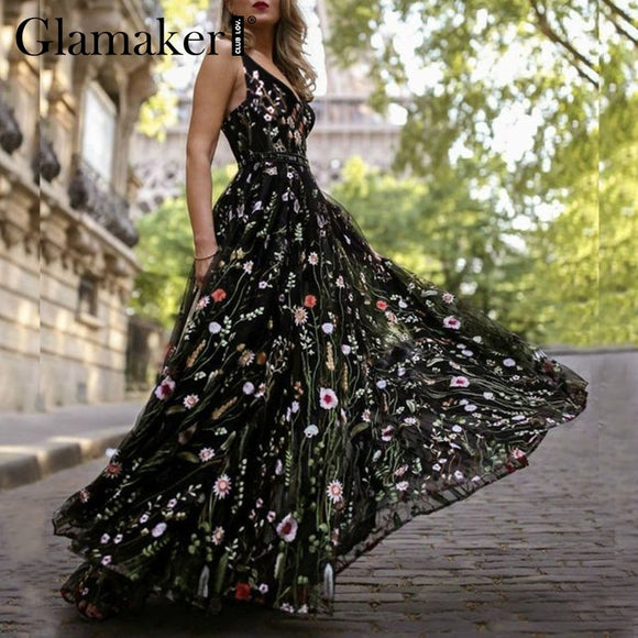 Mesh vintage floral embroidery maxi dress Women backless beach