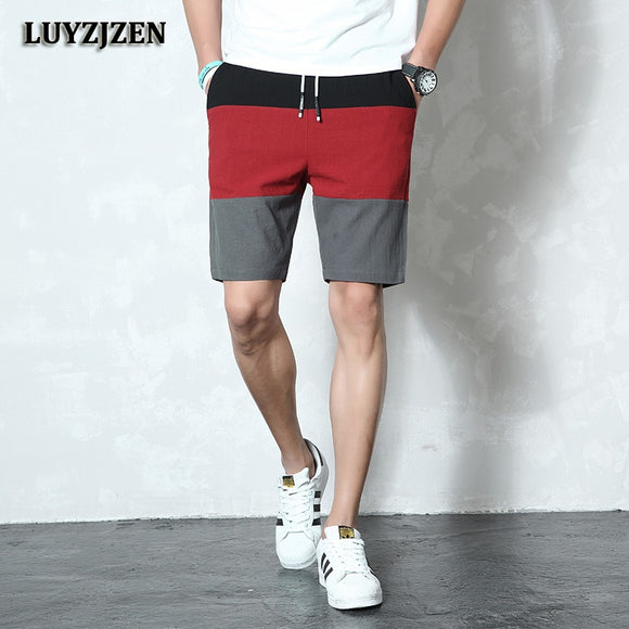 Men Elastic Waist Summer Beach Cotton Linen Bermuda Shorts