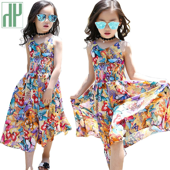 Kids summer beach dress flower Wedding Party princess dress
