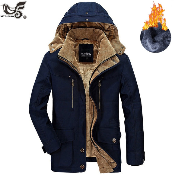 Winter Jacket Men Thick Windbreaker High Quality Fleece Cotton-Padded