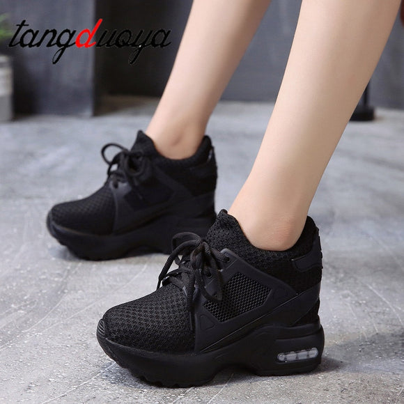 Women Platform Wedge heels casual shoes Breathable Mesh High Heel Autumn Casual Shoes Height Increasing Woman Outdoor shoes