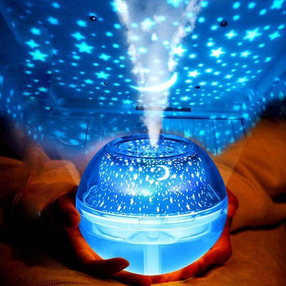 USB Crystal Night Lamp Projector 500ml Air Humidifier Aroma Diffuser