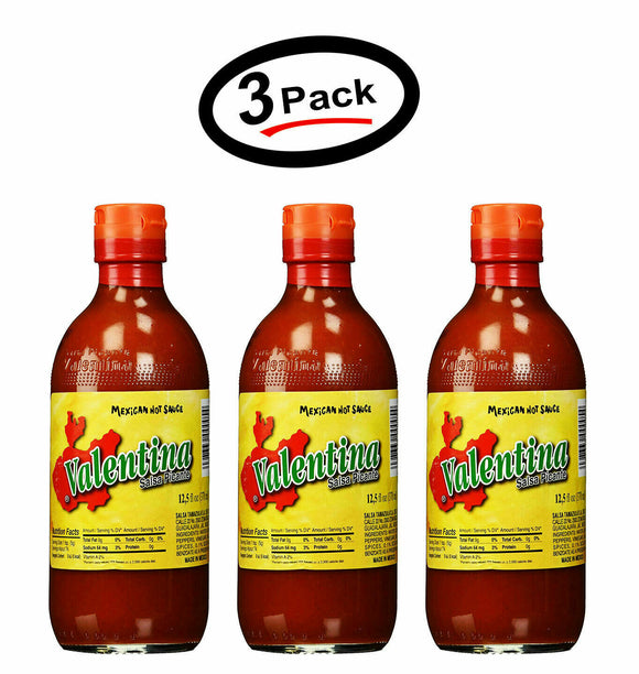 3 Pack Valentina Salsa Hot Red Sauce Mexican Hot Sauce - 12.5 Oz