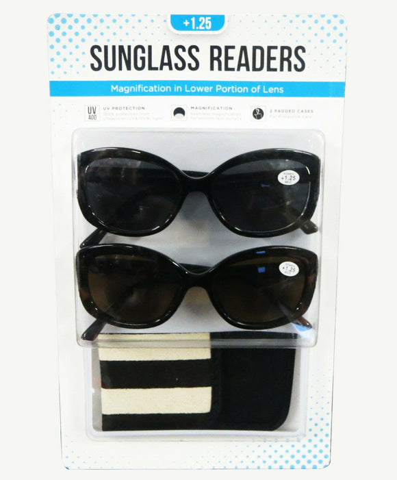 Classic Womens Readers Invisible Bifocal Reading Sunglass & Case +1.25