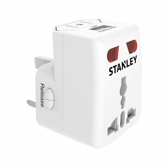 Stanley 30410 UNIVERSAL TRAVEL ADAPTER, White