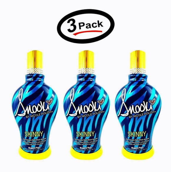 3 Supre SNOOKI Skinny Ultra Dark BLACK Bronzer Tanning Lotion 12 Oz.