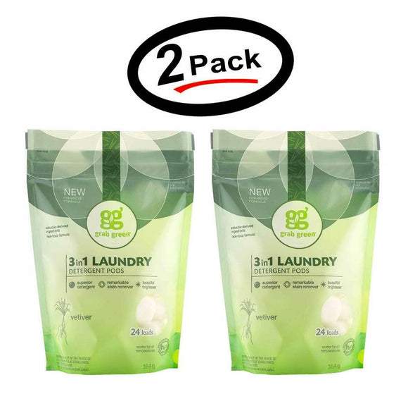 2 Grab Green Natural 3-in-1 Laundry Detergent Pods Vetiver 24 Loads