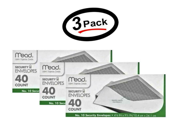 3 Pack of NEW Mead #10 Security Envelopes, 40 Count 75214