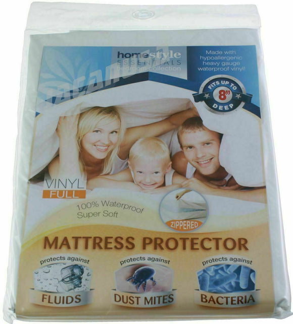 Vinyl Mattress Protector-Waterproof & Dust Mite Proof Durable Cover- Full Size