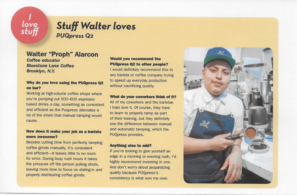 PUQPress feature in Barista Magazine