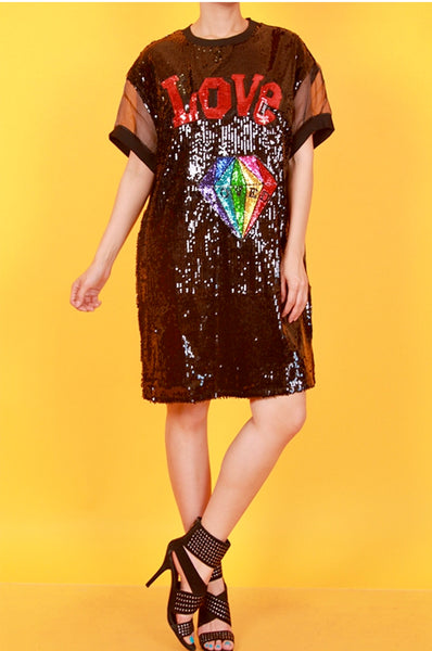 For The Love Of Sequins Shirt Dress