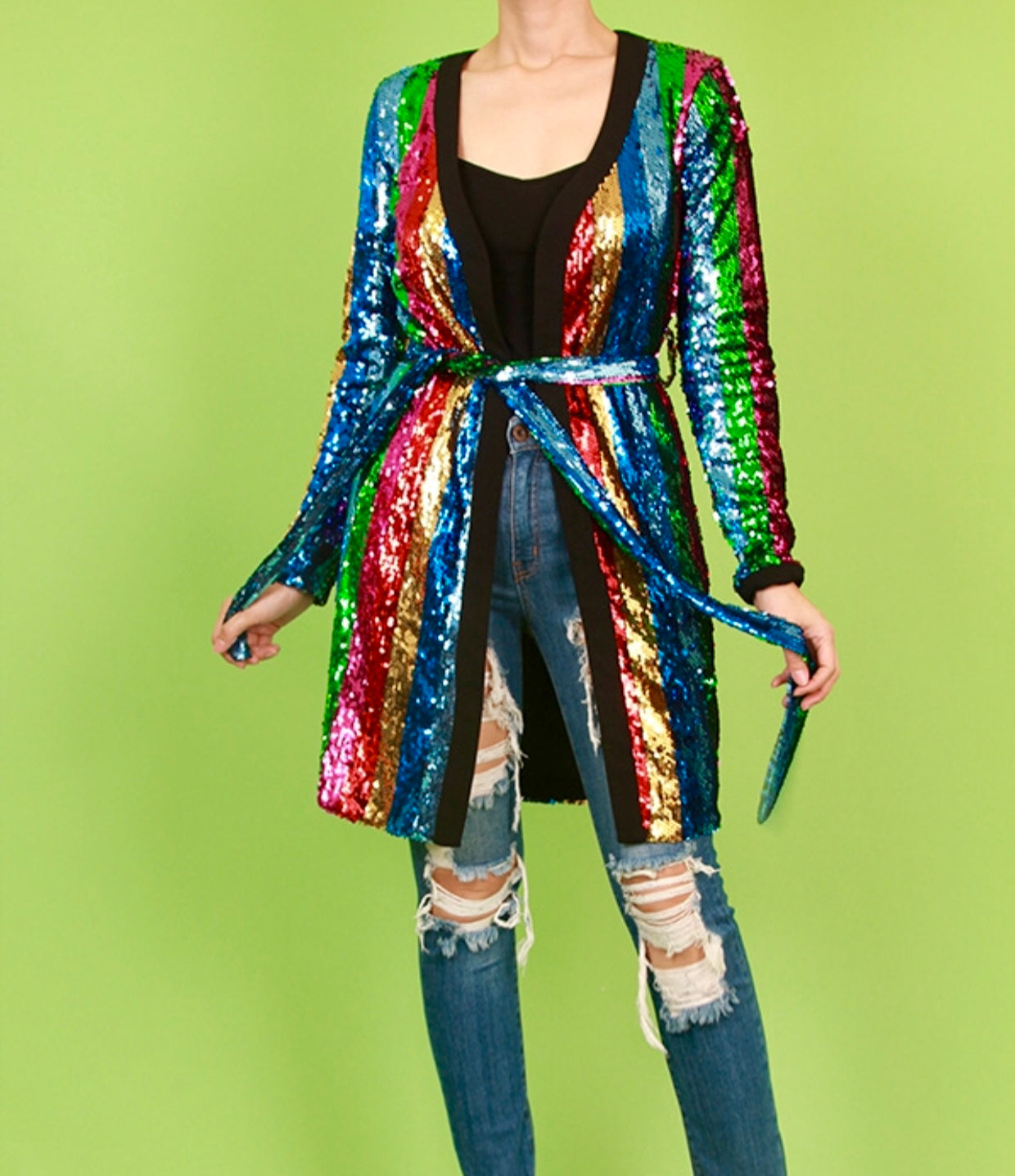 Multi Colored Sequin Cardigan
