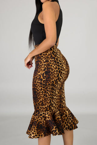 Black Top Leopard Bottom Mermaid Dress *BELT IS NOT INCLUDED*