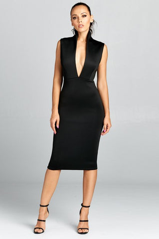 Sexy Low Cut Midi Dress