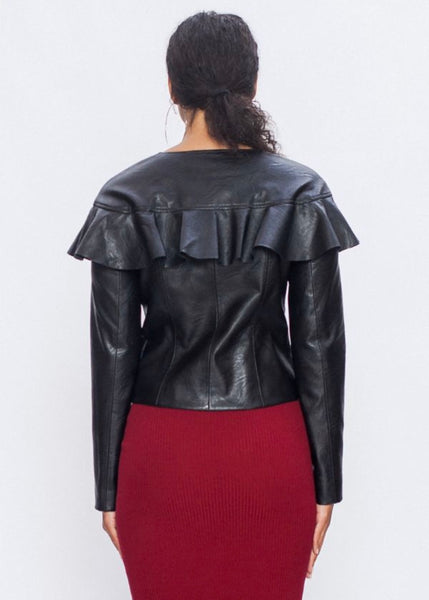 """Britt"" Ruffle Leather Jacket"