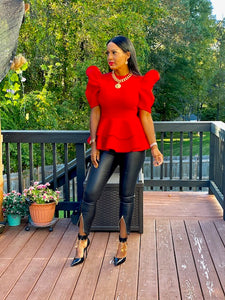 Pretty Red Peplum Top