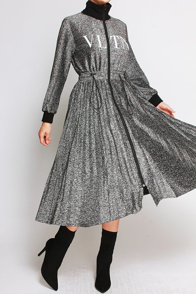 Valentino Inspired Velour Zip Up Dress (silver)