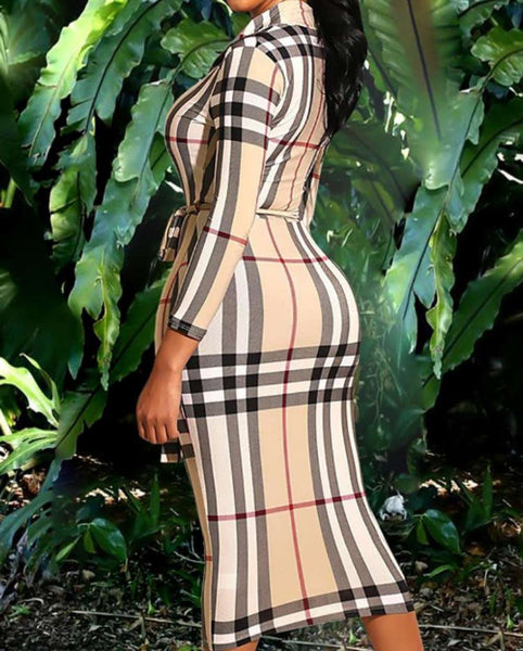 The Boss Lady Plaid Midi Dress