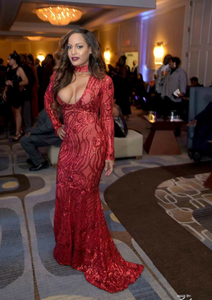 Sexy Red Sequin Gown