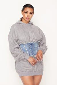 Cute and Casual Sweatshirt w/Denim Lace Up Belt